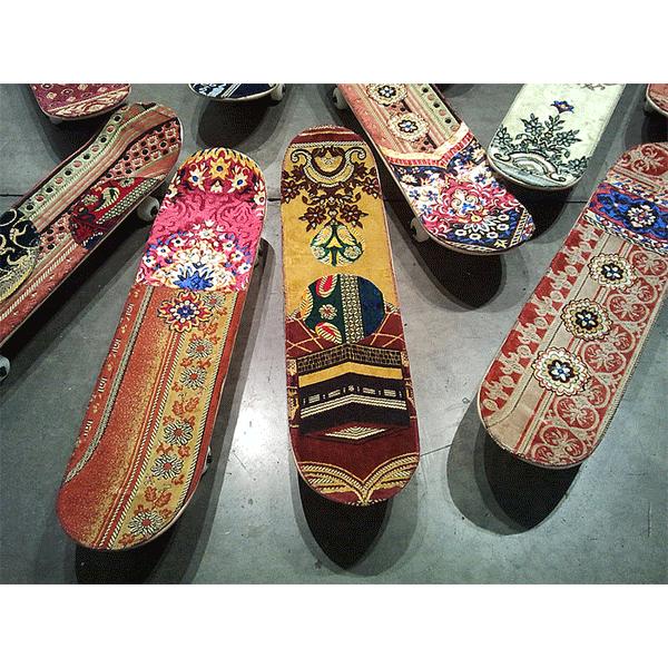 mounir fatmi<br/>Maximum Sensation, 2010, skateboards with covered praying rugs