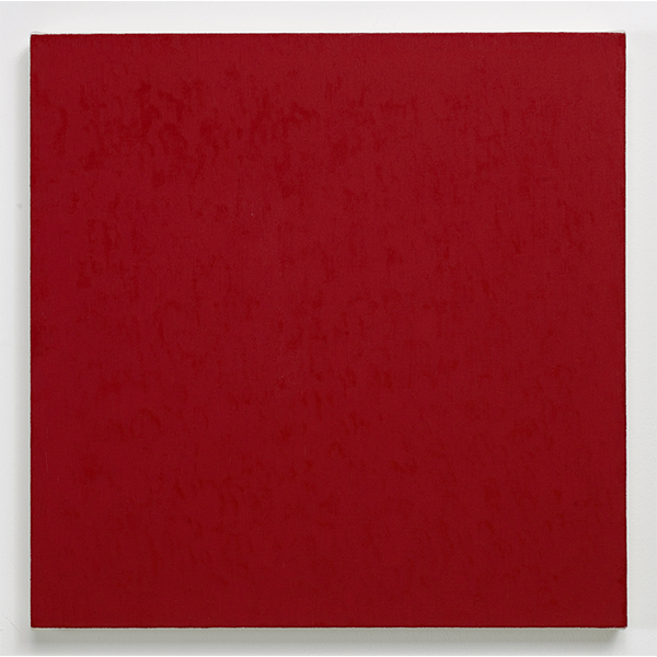 MARCIA HAFIF<br/>Table of Pigments:  Cadmium Reed Deep, 1991, oil on canvas, 56 x 56 cm