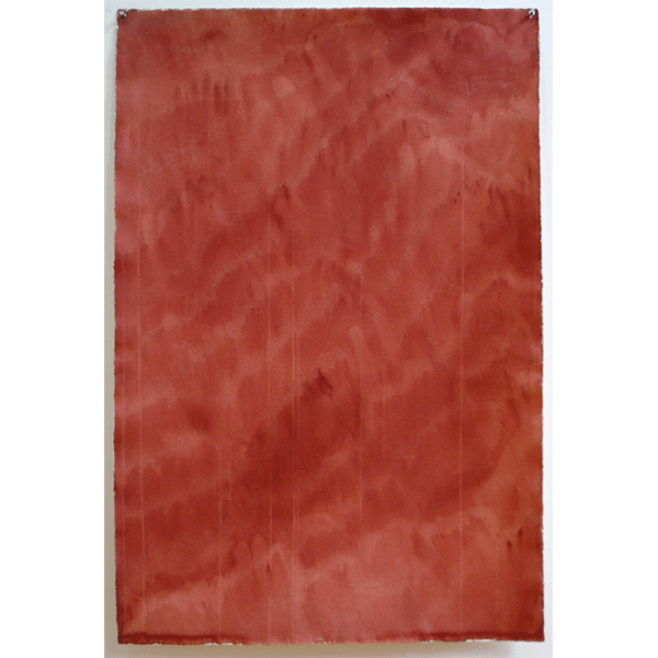 MARCIA HAFIF<br/>Indian Red, August 15, 1974, watercolor on paper, 41 x 27 cm