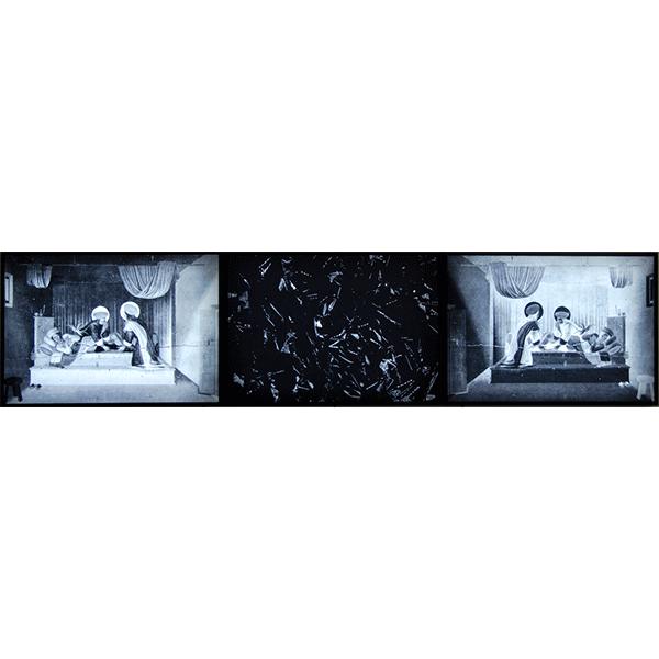 mounir fatmi<br/>The Angel´s Black Leg, 2011, triptyc of lightboxes, each 100 x 70 cm