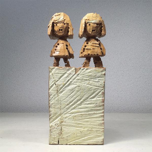 HIROSUKE YABE<br/>Untitled (co015), 2018, wood carving, creme cashew painting, unique, 29,1 x 14,5 x 8,3 cm