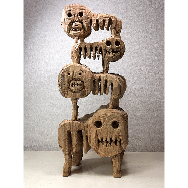 HIROSUKE YABE<br/>Untitled (co0155), 2018, wood carving, 69 x 29,5 x 22,5 cm