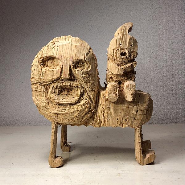 HIROSUKE YABE<br/>Untitled (co0168), 2018, wood carving, 28 x 24.5 x 14 cm