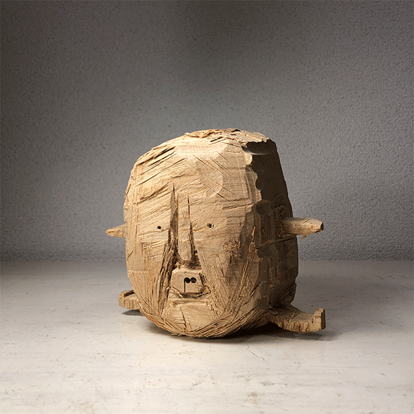 HIROSUKE YABE<br/>Untitled (co0170), 2018, wood carving, 17 x 19 x 12 cm