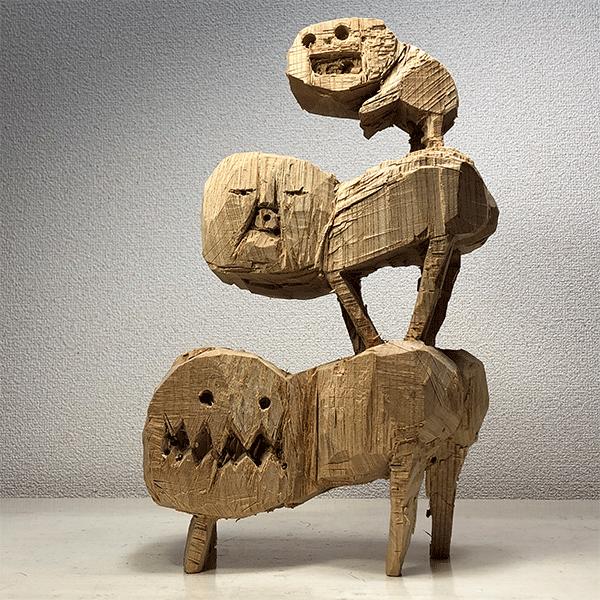 HIROSUKE YABE<br/>Untitled (co0172), 2018, wood carving, 38 x 25 x 13.5 cm