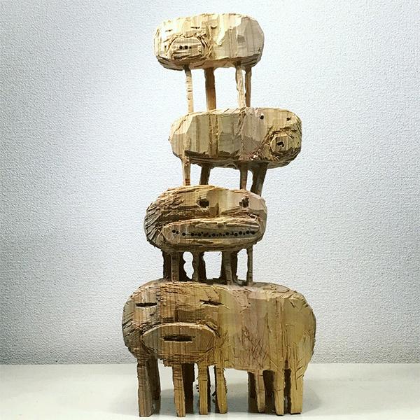 HIROSUKE YABE<br/>Untitled (co063), 2018, wood carving, unique, 57 x 27 x 15,5 cm