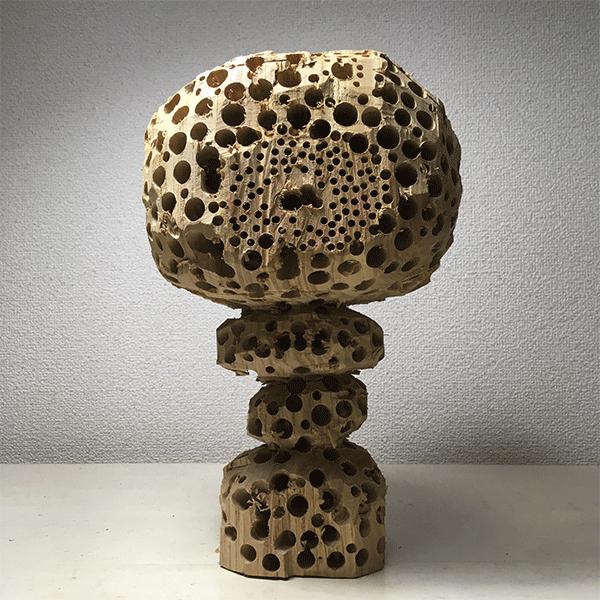 HIROSUKE YABE<br/>Mushroom (co085), 2018, wood carving, unique, 30,5 x 19,5 x 18 cm