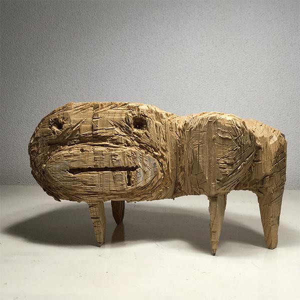 HIROSUKE YABE<br/>Untitled (co09), 2018, wood carving, unique, 19,5 x 34 x 18 cm