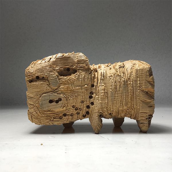 HIROSUKE YABE<br/>Faithful Dog Man (co095), 2018, wood carving, unique, 8,5 x 13,2 x 6 cm