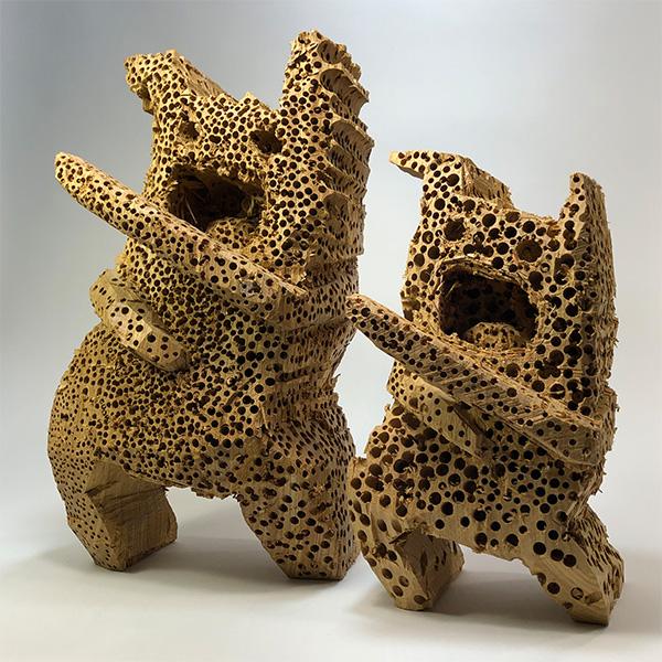 HIROSUKE YABE<br/>Leviathan (co202 & co203), 2020, wood carving, 30 x 17 x 18 cm & 39 x 23,5 x 22,5 cm