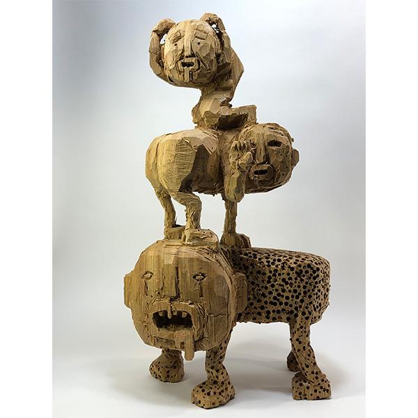 HIROSUKE YABE<br/>Untitled (co205), 2020, wood carving, 66 x 38 x 24 cm