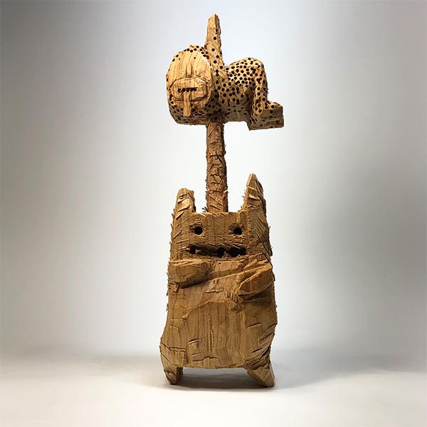 HIROSUKE YABE<br/>Untitled (co211), 2020, wood carving, 34 x 11 x 12,5 cm