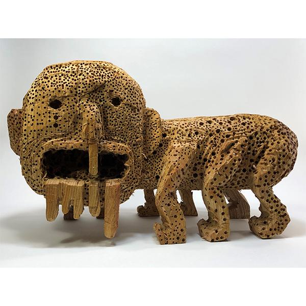 HIROSUKE YABE<br/>Untitled (co213), 2020, wood carving, 32,5 x 55 x 24 cm