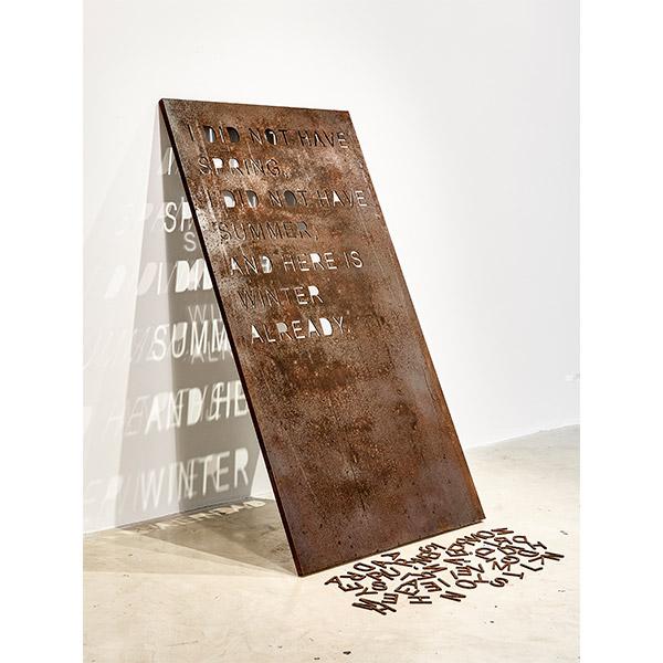 mounir fatmi<br/>Coma Manifesto 03, 2017, steel with laser cut out, 170 x 90 cm