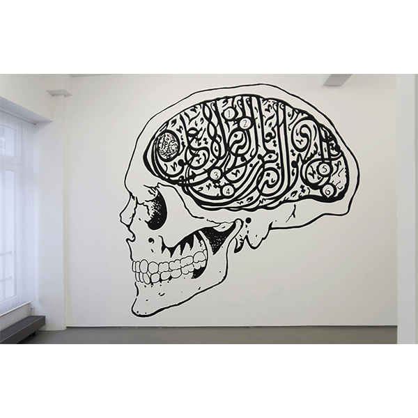 mounir fatmi<br/>Hard Head, 2009, wallpainting, acrylic on wall, size variable
