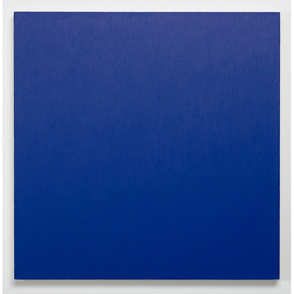 MARCIA HAFIF<br/>Red Painting: Heliogen Blue, April 4, 2000, oil on canvas, 81 x 81 cm