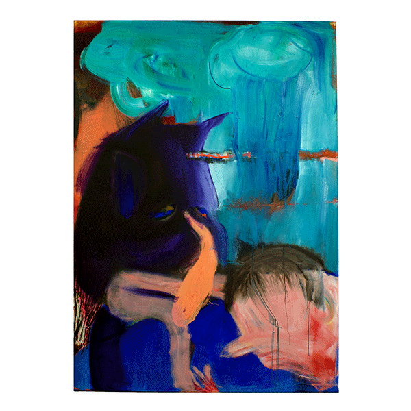 ANETA KAJZER<br/>Bad man and boy, 2019, oil on canvas, 280 x 200 cm