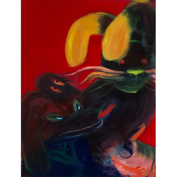 ANETA KAJZER<br/>Hasenjagd, 2020, oil on canvas, 160 x 120 cm