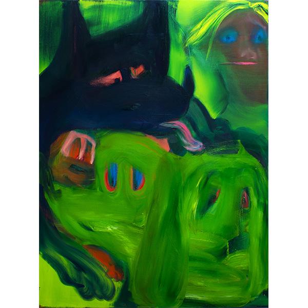 ANETA KAJZER<br/>Wer hat die Hunde rausgelassen, 2020, oil on canvas, 160 x 120 cm