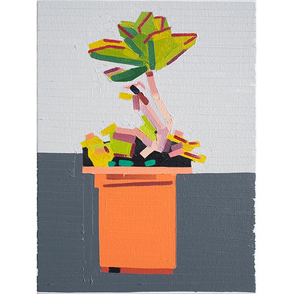 GUY YANAI<br />Plant on Path, 2019, oil on canvas, 40 x 30 cm
