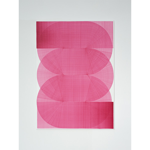 THOMAS TRUM<br />Two Pink Lines #10, marker drawing on canvas, 160 x 115 cm