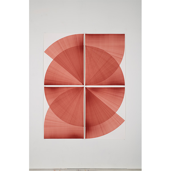 THOMAS TRUM<br />Two Red Lines #1, marker drawing on paper,  208 x 160 cm