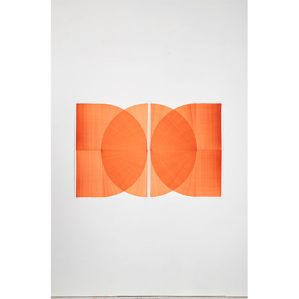 THOMAS TRUM<br />Two Orange Lines #2, marker drawing on paper, 104 x 160 cm