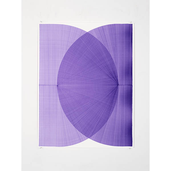 THOMAS TRUM<br />Two Purple Lines #15, 2020, marker drawing on paper, 104 x 80 cm