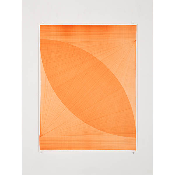 THOMAS TRUM<br />Two Orange Lines #20, 2020, marker drawing on paper, 104 x 80 cm