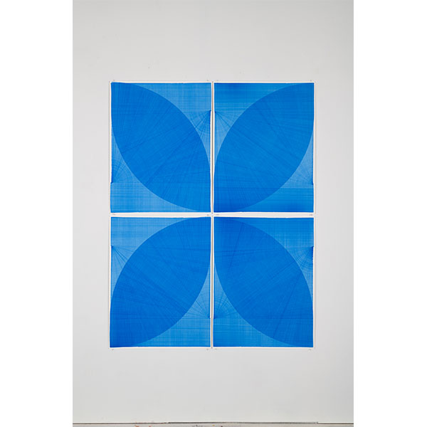 THOMAS TRUM<br />Two Blue Lines #4, marker drawing on paper,  4 parts, 208 x 168 cm