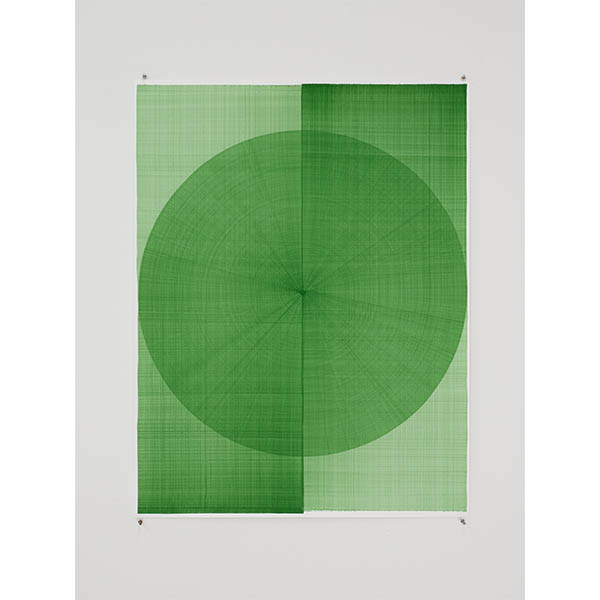 THOMAS TRUM<br />Two Green Lines #29, 2020, marker drawing on paper, 104 x 80 cm