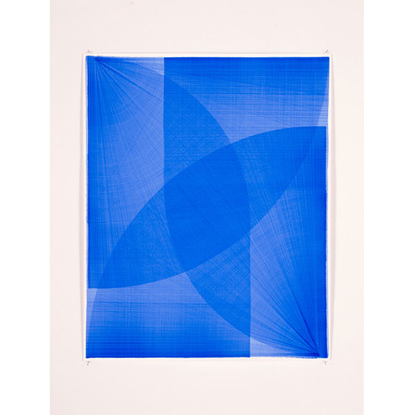 THOMAS TRUM<br />Four Blue Lines #5, marker drawing on paper, 104 x 84 cm
