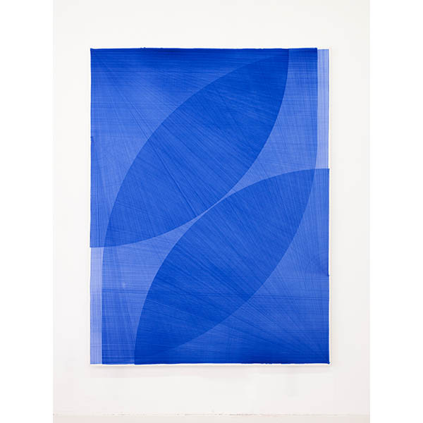 THOMAS TRUM<br />Four Blue Lines #16, marker drawing on paper, 250 x 190 cm