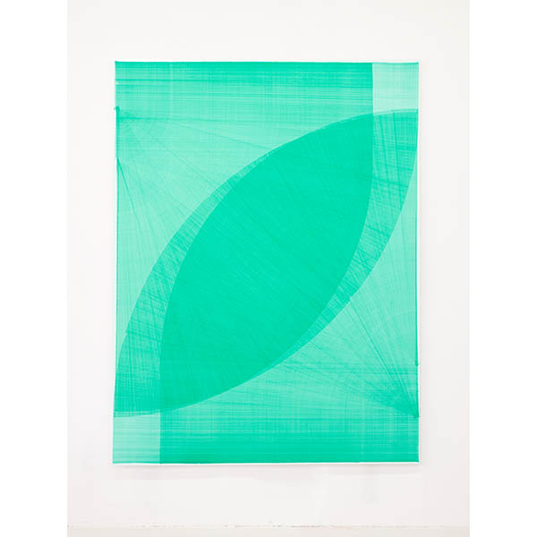 THOMAS TRUM<br />Four Green Lines #15, marker drawing on paper, 250 x 190 cm