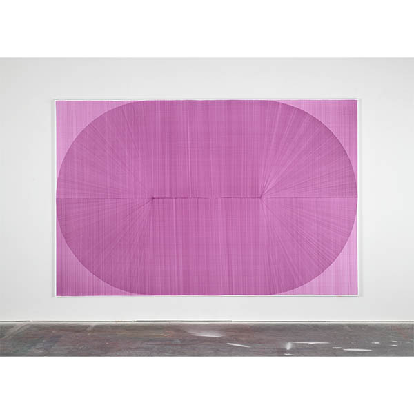 THOMAS TRUM<br />Two Purple Lines #13, marker drawing on paper, 240 x 370 cm